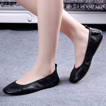 Hot Fashion Brand Women Shoes Leather Ballerina Ballet Flats Foldable And Portable Travel Flat Pregnant Shoes For Bridal Wedding