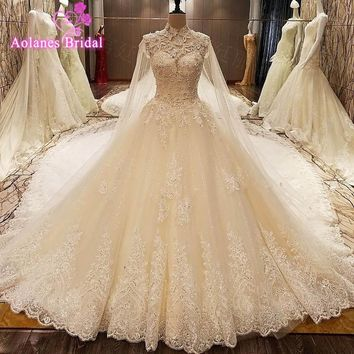 Real Image OMG Luxury Wedding Dresses Crystals Lace Beading Appliques Royal Train Bridal Gowns 2017 Vsetido De Novia With Shawl