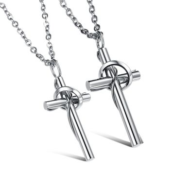 Jewelry His & Her Stainless Steel Couples Rings Matching Set Cross Pendant Necklace