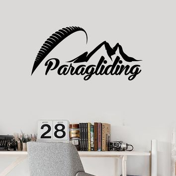 Vinyl Wall Decal Paragliding Word Extreme Sports Paraglider Room Art Stickers Mural (ig5513)
