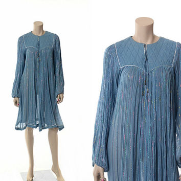 Vintage 60s 70s India Gauze Dress 1960s 1970s Quilted Bib Rainbow Metallic Indian Boho Hippie Gypsy Festival Tent Dress / S-XL
