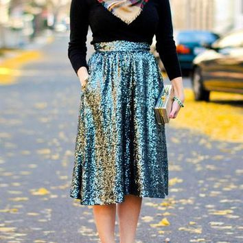 Green Sequin Pleated Plus Size Elastic Waist Party Skirt