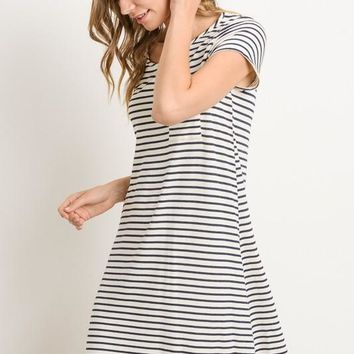 Striped Tunic Dress with Pocket - Ivory and Navy