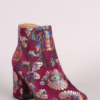Qupid Floral Brocade Satin Round Toe Blocky Heeled Booties