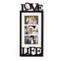 3 Opening Black Wood Wall Hanging Picture Photo Frame - 4x6