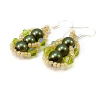 Beaded Earrings, Green and Beige Earrings, Bead Weaving Earrings, Fashion Jewelry, Pearl Glass Earrings
