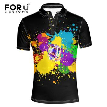 FORUDESIGNS Breath Men Polo Shirts Summer Black Short Sleeved Poloshirts for Teen Boy Cute Animal Colorful Dogs Casual Top Crops