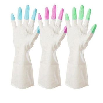 ICIKU7Q 1 Pair Winter Kitchen Chores Clean Waterproof Rubber Gloves Durable Household Laundry Dishwashing Gloves handguard Kitchen Gloves Wash Dishes High quality