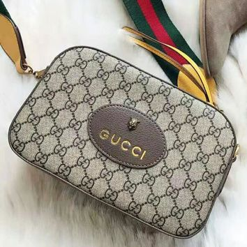 GUCCI High Quality Popular Women Retro Leather Shoulder Bag Crossbody Satchel