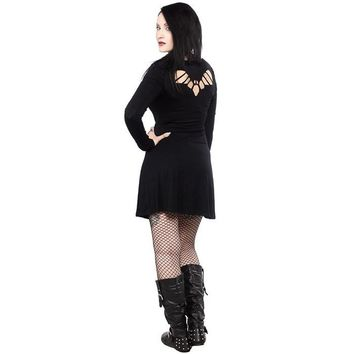 Sourpuss Black Bat Cutout Long Sleeve Dress