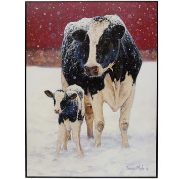 Merry Christmas Cows In Snow Sign