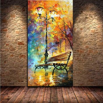 Large Handpainted Abstract Modern Wall Painting Rain Tree Road Palette Knife Oil Painting On Canvas Wall Decor Home Decoration