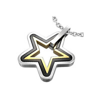 Stainless Steel 3tone Concentric Shining Star by UnisexySupplies