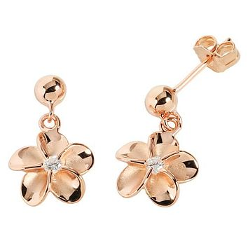 Pink Gold Plated Bead Plumeria Stud Earring 10mm