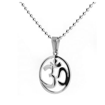 Ohm Symbol Pendant Stainless Steel Necklace