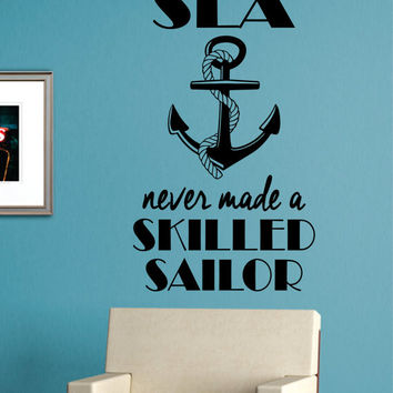 Skilled Sailor Anchor Quote Version 1 Nautical Ocean Beach Decal Sticker Wall Vinyl Art Decor