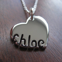 Silver Personalised Heart and Name Pendant Necklace