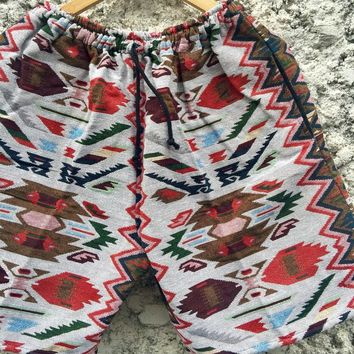 Tribal Shorts Men Woven Aztec Southwestern Hippie Boho festival Gypsy Ethnic Vegan Style Clothing Beach Summer Burning man Coachella gift