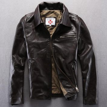 Resident evil genuine leather jackets men's turn-down collar slim coats deep brown cowhide motorcycle jacket suede free shipping