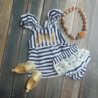 First Birthday Navy & White Stripe Sleeveless Romper and Bloomer Set - Baby, Infant, Toddler Dress -  Lace Ruffle Bloomer - Gold Glitter One