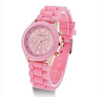 Mint Color Silicone Watch 007 Pink from topsales