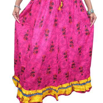 Mogul Women's Skirts India Pink Floral Printed Cotton Boho Gypsy Skirt M: Amazon.ca: Clothing & Accessories
