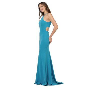Teal Halter Long Formal Dress Cut-Out Back with Slit