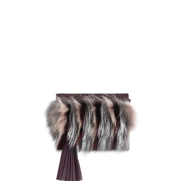 Elena Ghisellini Nina Mini Crazy Fur Clutch Bag, Bordeaux