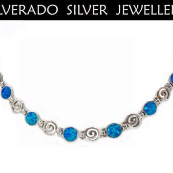 Ancient Greek Spiral Infinity Key And Manmade Opal Stone Necklace 45 cm 18 inches Sterling Silver 925