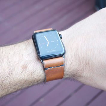 Apple Watch Band Strap Horween Chromexcel (Whiskey Brown) | Full Grain Leather | Made in Texas