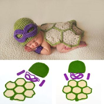 Newborn Photo Props Crochet Knit Baby Cartoon Costume Ninja Turtle Style Baby Studio Shooting Outfits Baby Ninja Turtle Clothes