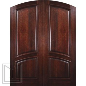 Prehung Front Double Door 96 Mahogany 2 Panel Arch Top Solid