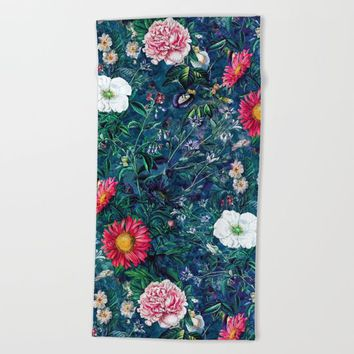 Spring Flowers Dark Beach Towel by RIZA PEKER
