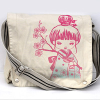 Sakura Geisha girl Full color messenger bag white