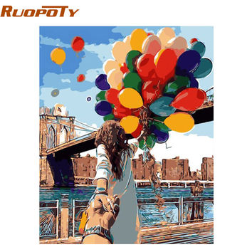 RUOPOTY Colorful Balloon Lover DIY Painting By Numbers Wall Art Home Decor Modern Picture Unique For Wedding Decoration 40*50cm