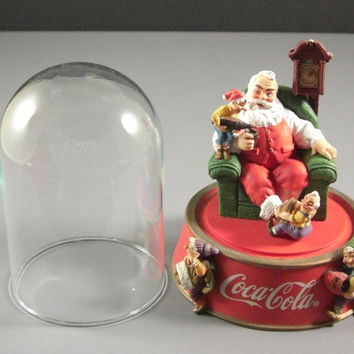 Franklin Mint Coca Cola Santa Claus Under Glass // A Merry Christmas Calls for Coke
