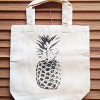 PINEAPPLE SUMMER / funny canvas tote bag with gusset 13x13