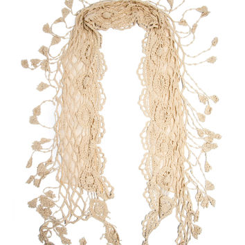 Laurel Scarf, 100% Cotton Crochet Lace Tassel Fringe Scarf