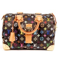 Louis Vuitton Speedy 30 Multi Color Black Satchel 5319 (Authentic Pre-owned)