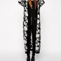 Black And White Floral Print Long-Sleeve Knitted Long Kimono