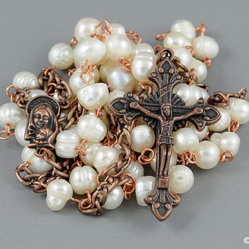 Wire Wrapped Rosary Potato Freshwater Pearl Copper Rustic Catholic