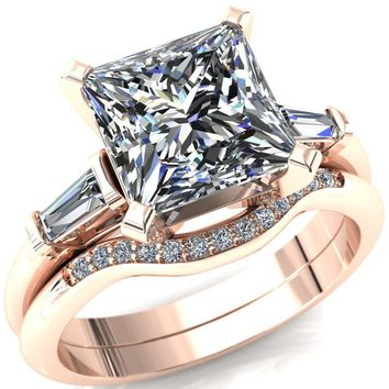 Quinn Princess/Square Moissanite 4 Prong Single Baguette Diamond Side Ring