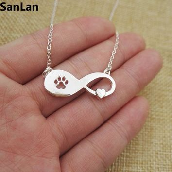 1pcs Lovely Fashion cat pets Jewelry Dog Paw Print on Infinity heart necklace Women Girl Best Friend Gift SanLan