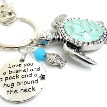 Sea Turtle Keychain with Love Quote
