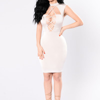 Lesson Learned Dress - Nude