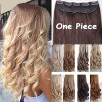 "17""-26"" Curly/Wavy Long Women lady Clip in Hair Extensions 100% Real Natural Hair Extentions Local"