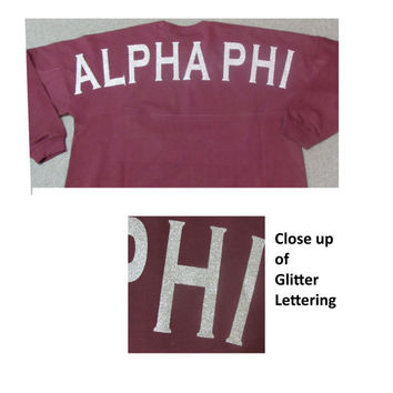Spirit Jersey - Left Chest Monogram & Full Shoulder Design - Billboard Crew - Glitter - Alpha Phi