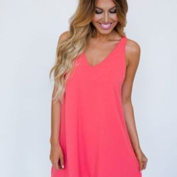 Coral Crochet Back Shift Dress