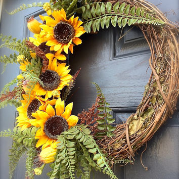 Sunflower Wreath Sunflower Door Decor Spring Wreaths Sunflower Door Decor Ferns