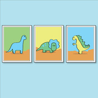 Children's Wall Art Set of 3 Dinosaur by OrangeMonkeyShop